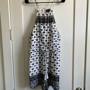 COPY - White and black romper with elephant print